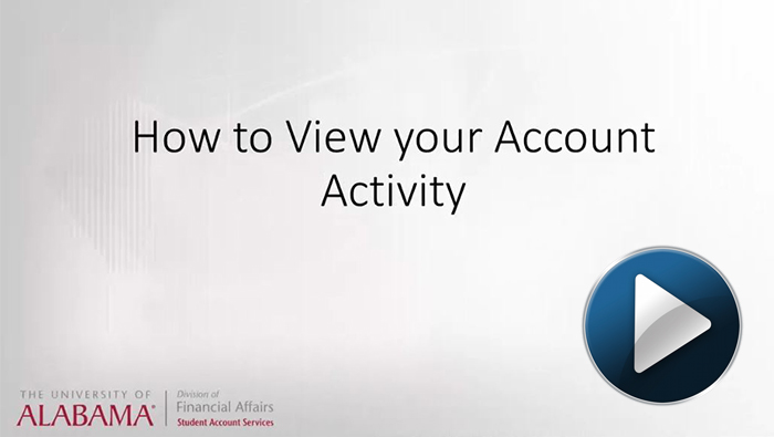How to view your account activity video link